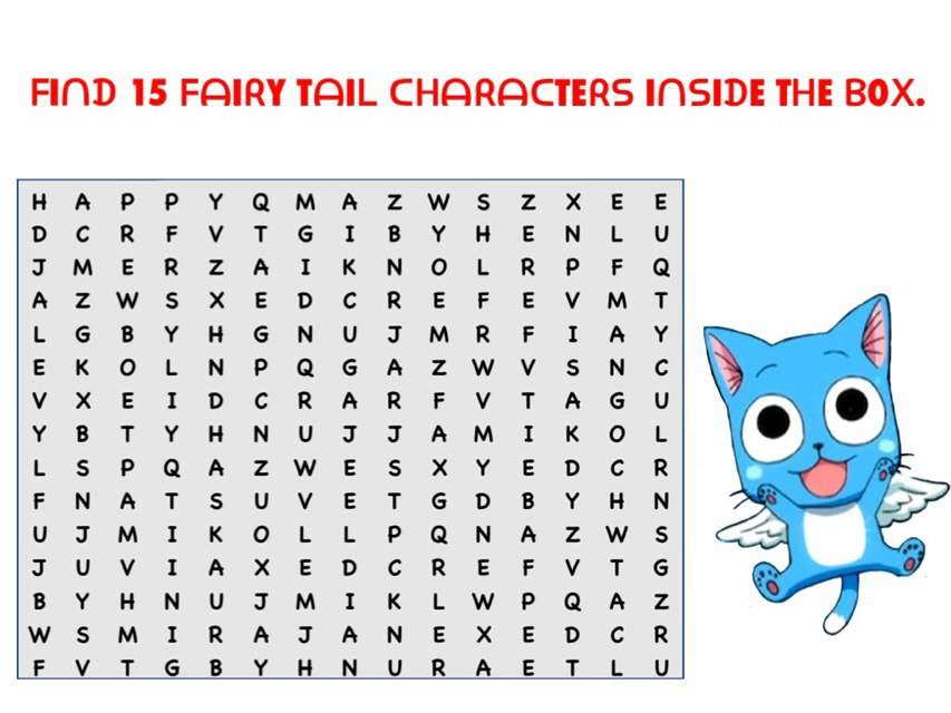 Popular Anime Shows - ProProfs Word Search Puzzle