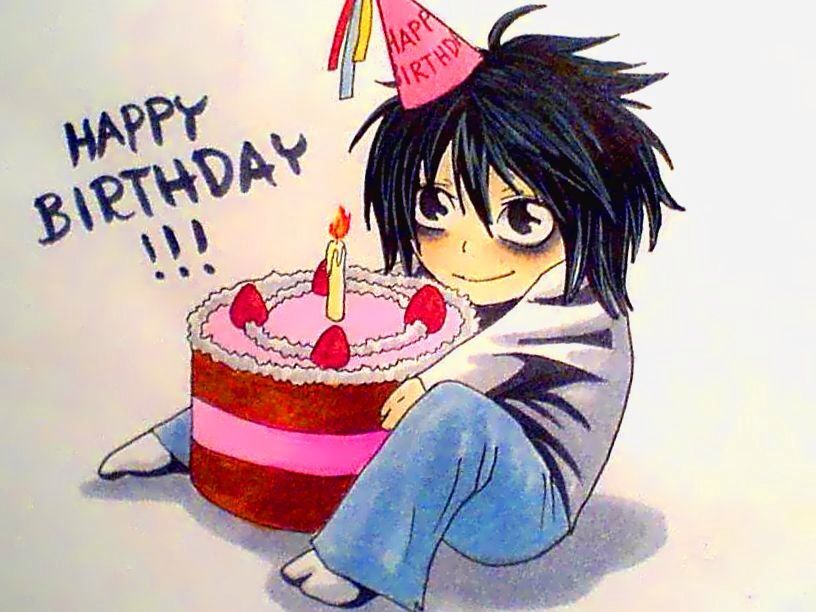 Anime Girl With Birthday Cake