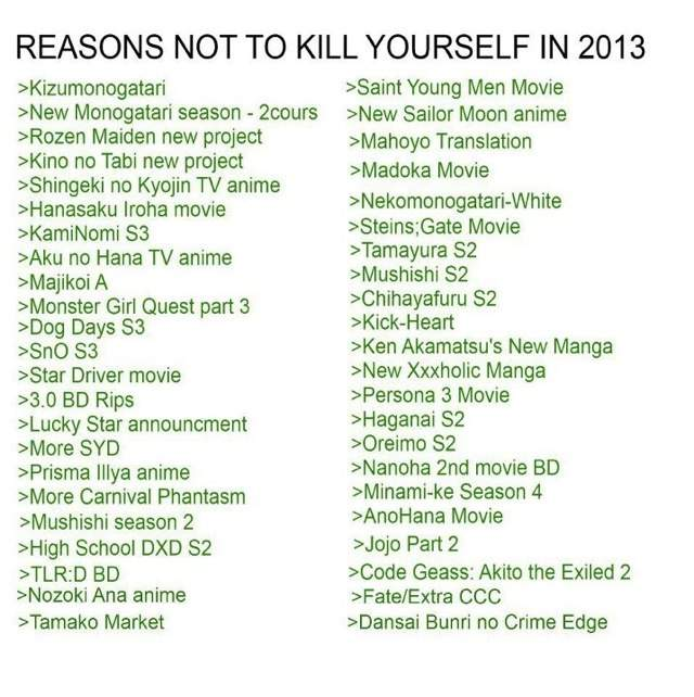 reasons to kill myself